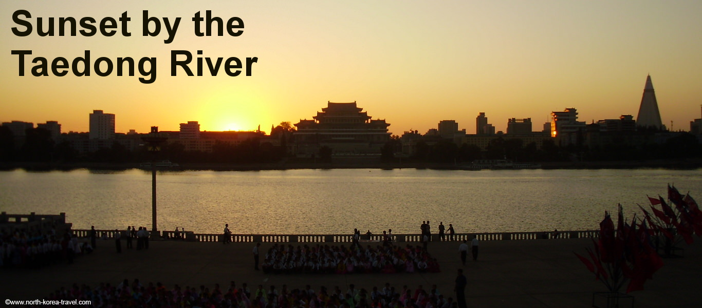 Sunset at the Taedong River in Pyongyang, capital of North Korea