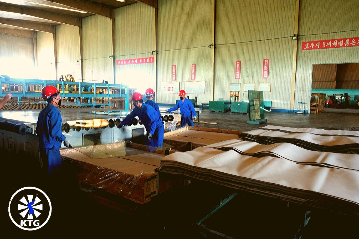 Taen Glass Factory near Nampo city in North Korea. Discover the DPRK with KTG