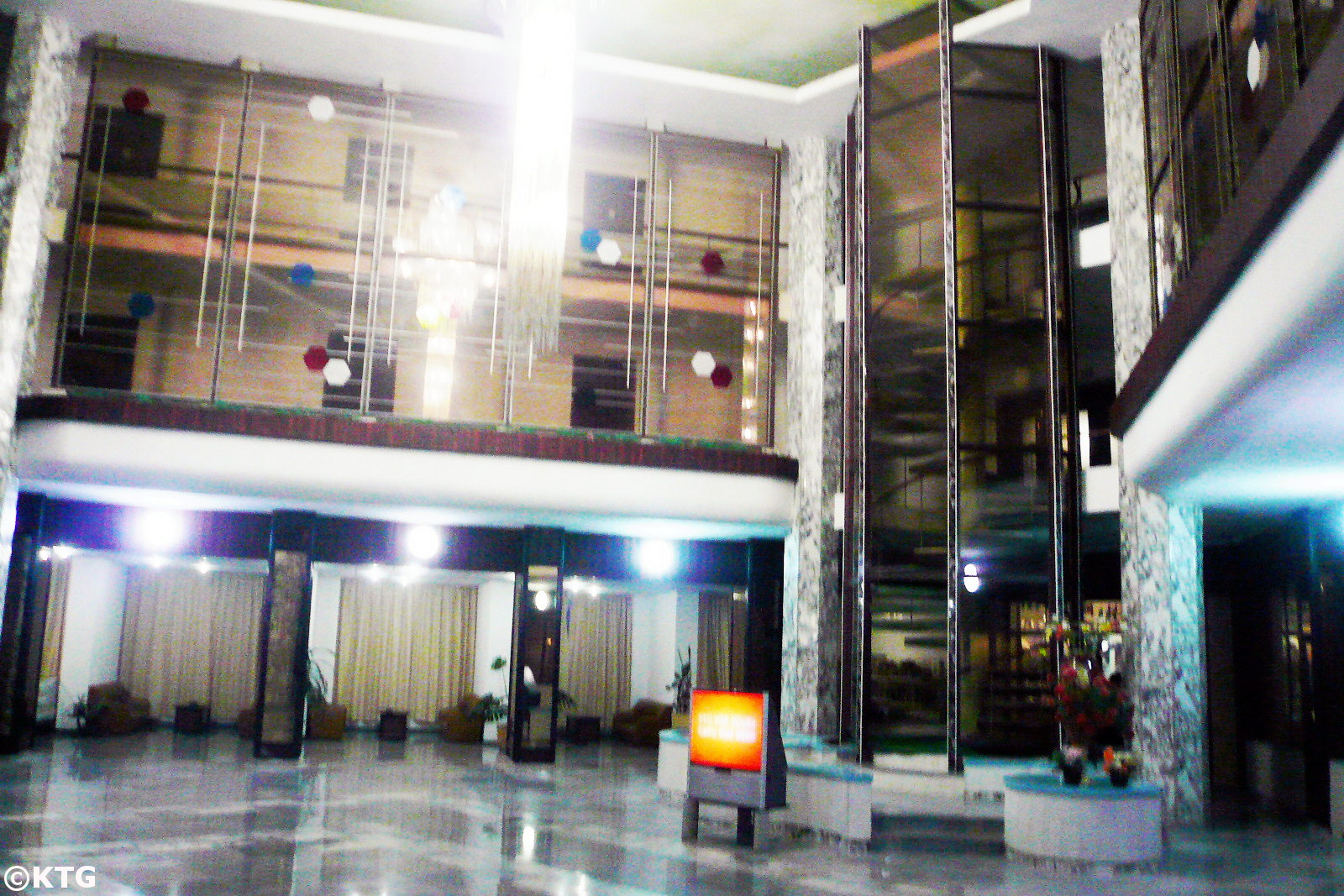 Lobby of the Tongmyong Hotel in Wonsan city, Kangwon province, North Korea (DPRK). Trip arranged by KTG Tours