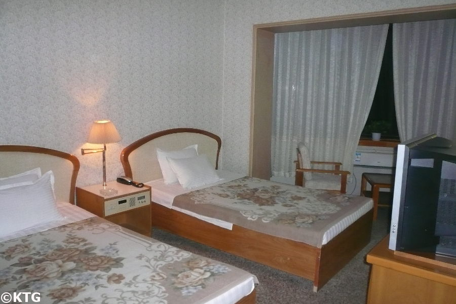 Standard room at the Tongmyong Hotel in Wonsan city, Kangwon province, North Korea (DPRK). It is also spelled Dongmyong Hotel. Trip arranged by KTG Tours