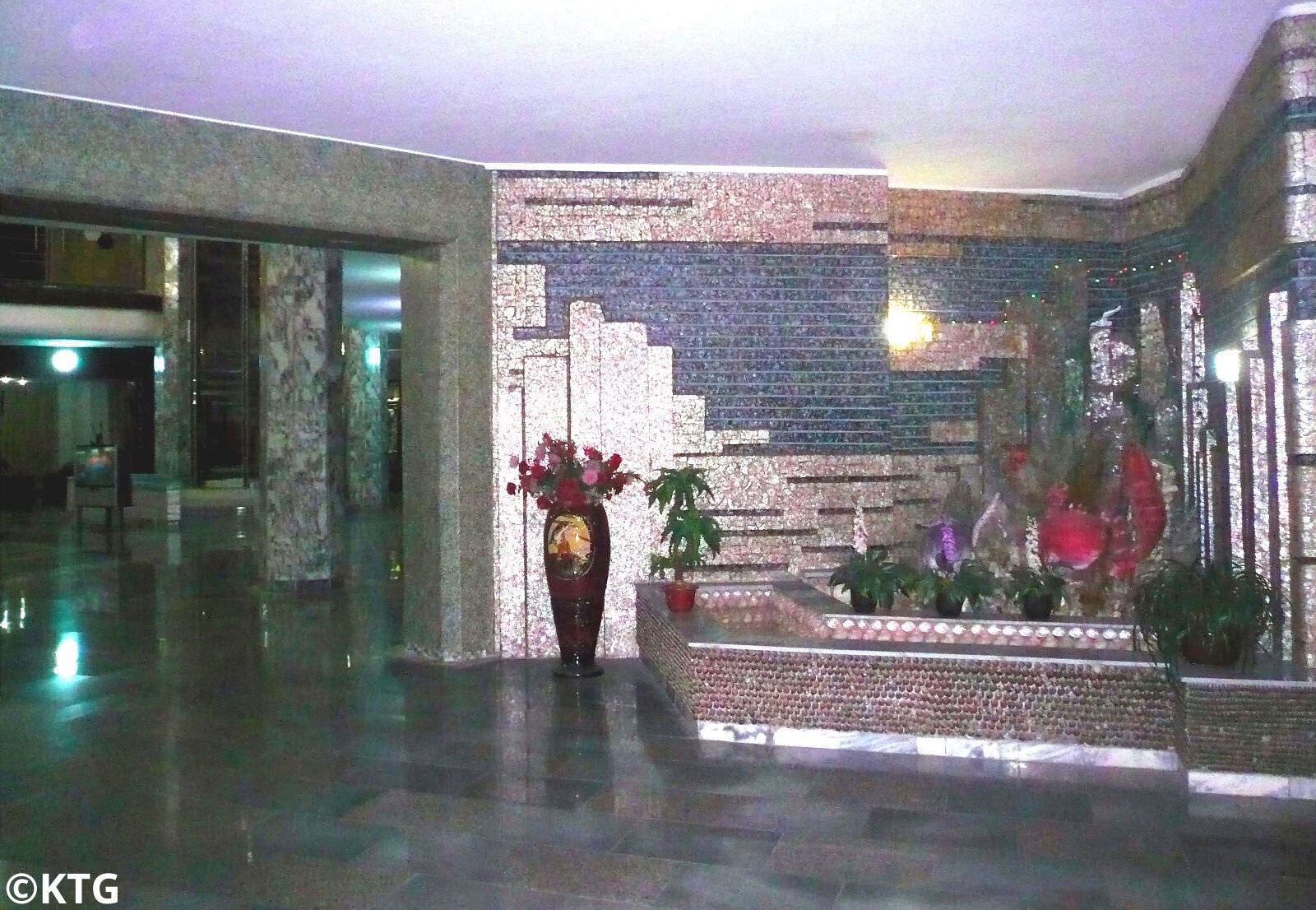 Lobby of the Dongmyong Hotel as spelled Tongmyong Hotel in Wonsan city, Kangwon province, North Korea (DPRK). Trip arranged by KTG Tours