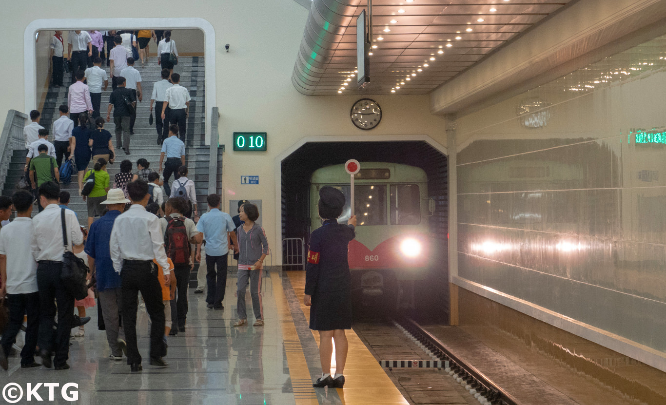train arriving at the Pyongyang metro in North Korea, Liberation Station. Trip arranged by KTG Tours