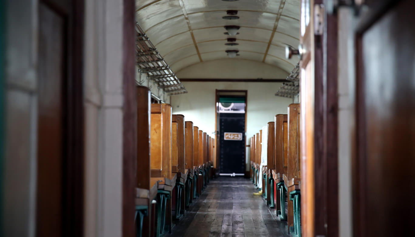 Replica of the 3rd class train carriage taken by President Kim Il Sung at the train station revolutionary site in Wonsan, DPRK. Picture taken by KTG Tours