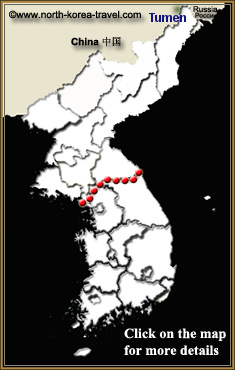 Map of Tumen China bordering North Korea