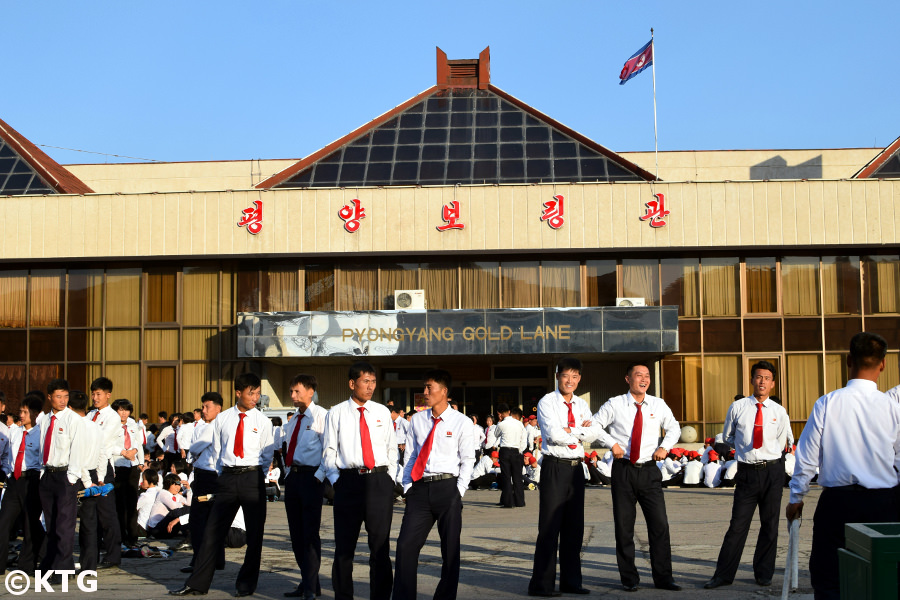 North Korean university students outside the Pyongyang Gold Lane bowling alley. Trip arranged by KTG Tours