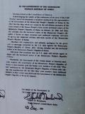 USS Pueblo Nordkorea - Brief von der amerikanischen Regierung unterzeichnet