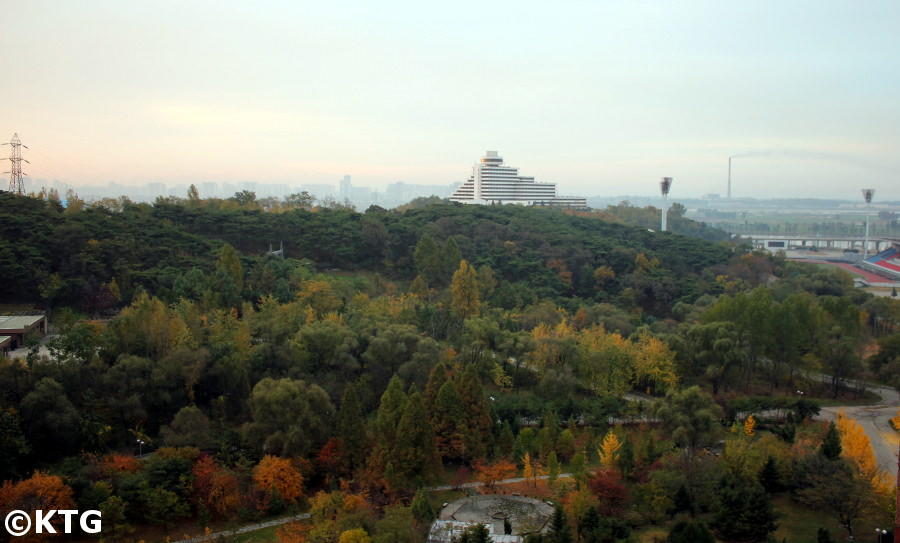 Views of the Ryanggang Hotel from the Sosan Hotel in Pyongyang, North Korea. These are both first class hotels