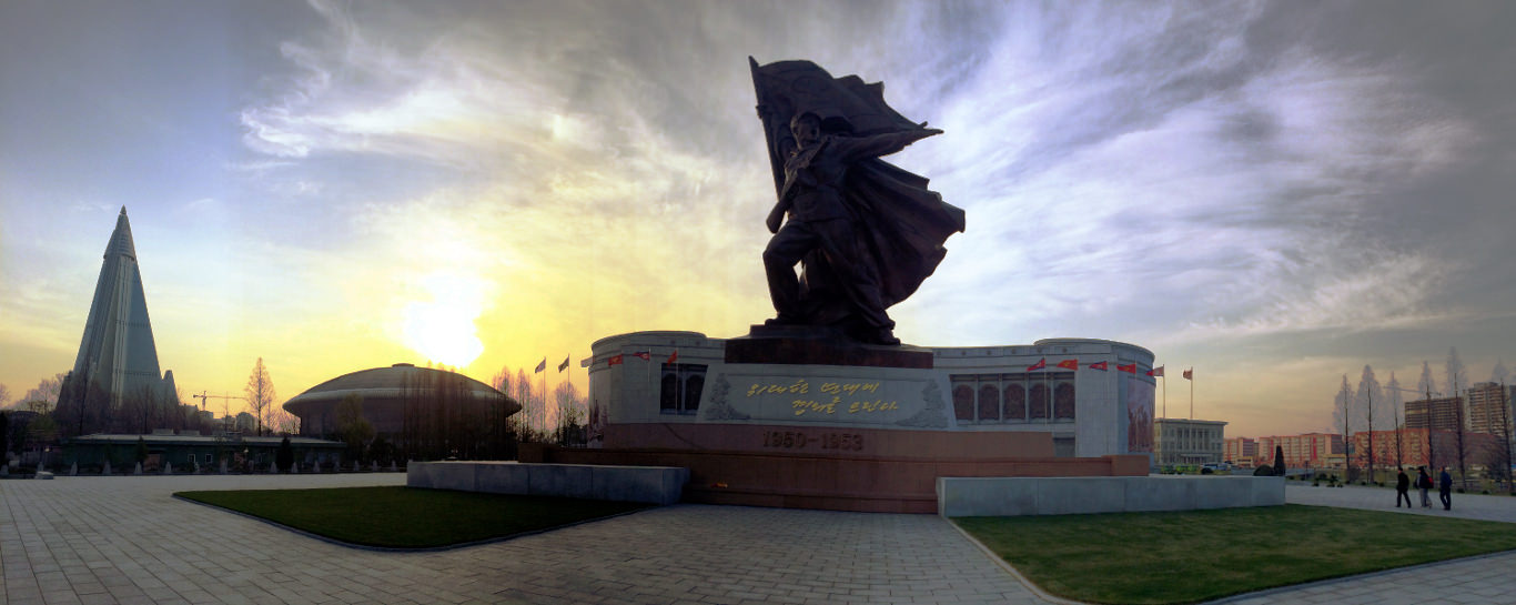 Panoramic picture of the Victorious Fatherland Liberation War Museum i.e. the Korean War Museum in Pyongyang capital of North Korea (DPRK). You can also see the Ryugyong Hotel in the picture. Trip arranged by KTG Tours