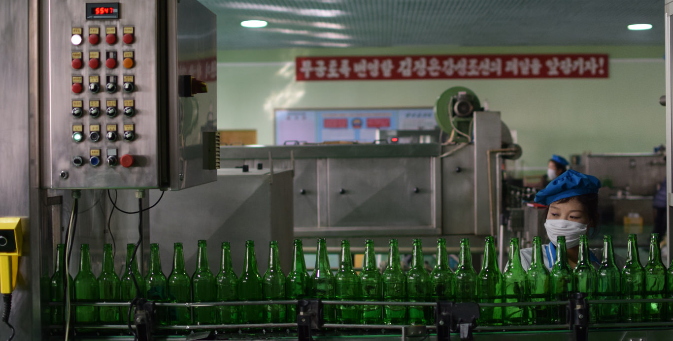 Kangso water factory near Nampo city in North Korea (DPRK). KTG arranges trips to factories in North Korea, tours around the whole country and Korean language courses in Pyongyang
