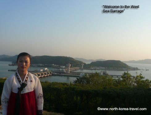 Barrage de la mer d'ouest à Nampo en Corée du Nord