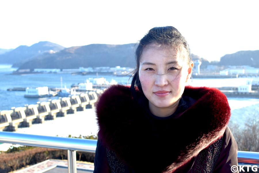 Local North Korean guide at the West Sea Barrage in Nampo, North Korea (DPRK) in Winter. Picture taken by KTG Tours