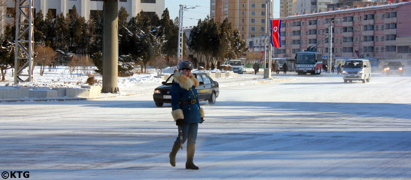 Pyongyang traffic lady in Winter, North Korea, DPRK. Picture taken by KTG Tours