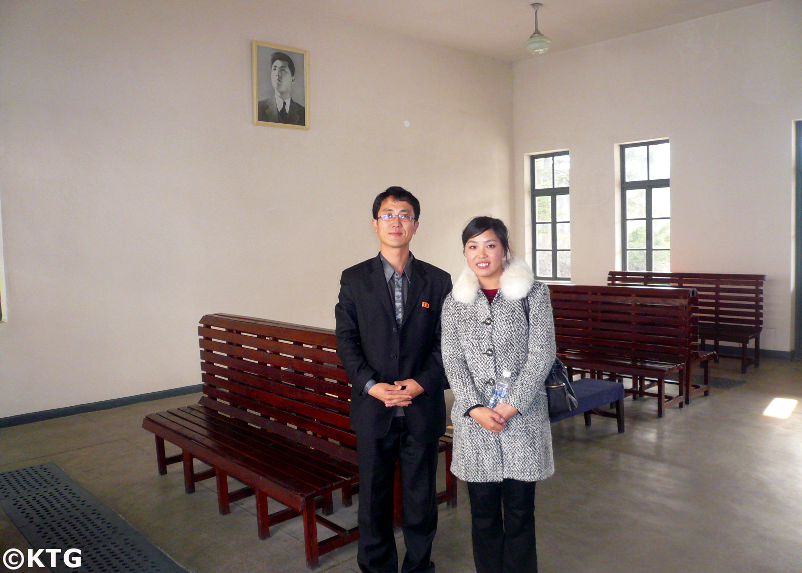 North Korean guides at the train station in Wonsan, DPRK. Picture taken by KTG Tours