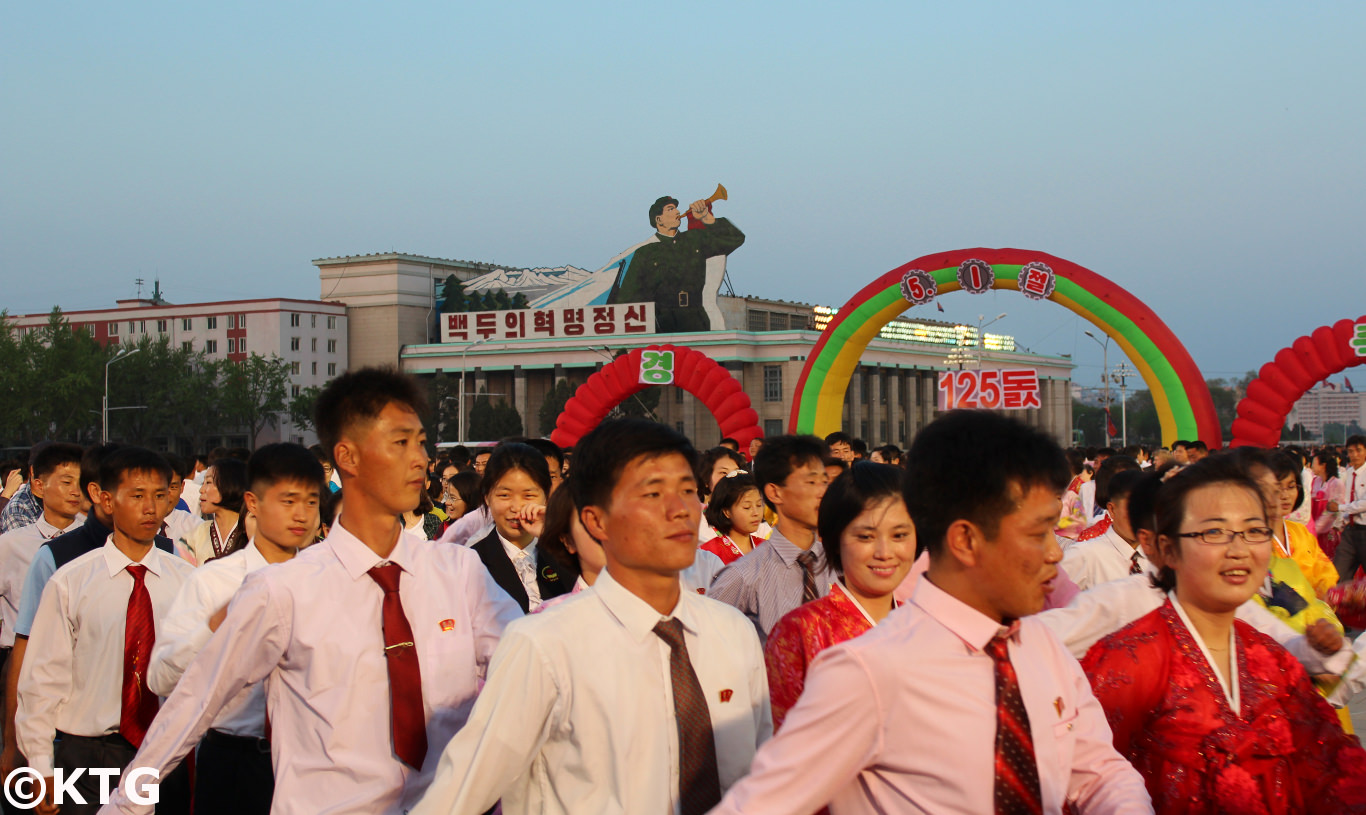 125 Anniversary of May Day (labour day) celebrated in Pyongyang, capital of the DPRK (North Korea). Tens of thousands gathered at Kim Il Sung Square to celebrate and have Mass Dances. Picture taken and tour arranged by KTG Travel.
