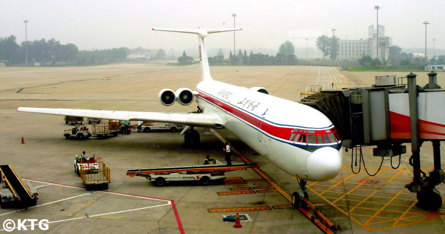 Air Koryo plane about to fly to Pyongyang capital city of North Korea. Trip arranged by KTG Tours