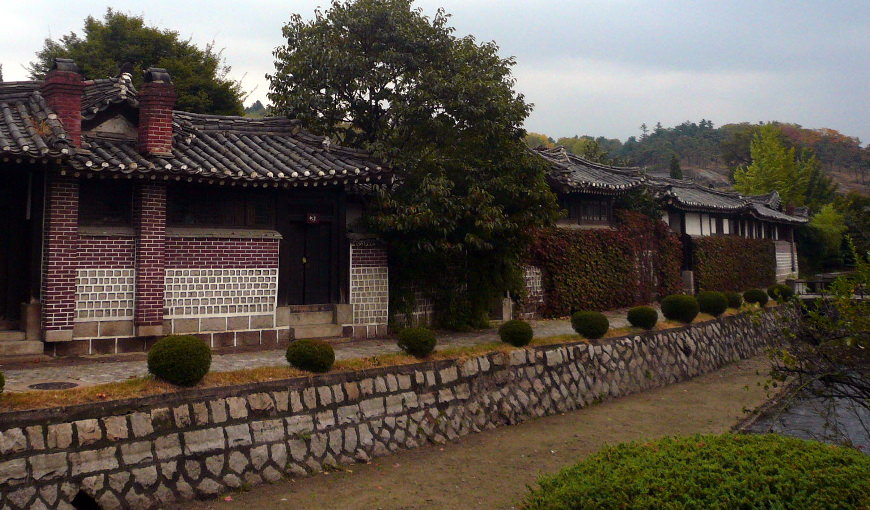 views of the Minsok Hotel a traditional Korean folk hotel with courtyards located in the old part of town of Kaesong city in North Korea, DPRK. Trip arranged by KTG tours