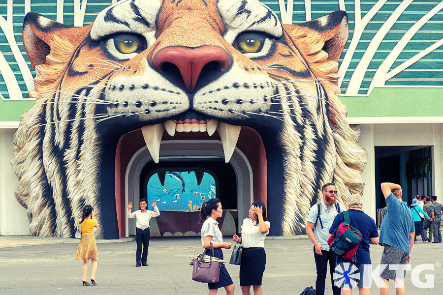 Tiger head entrance to Pyongyang Zoo. Discover North Korea with KTG Tours.