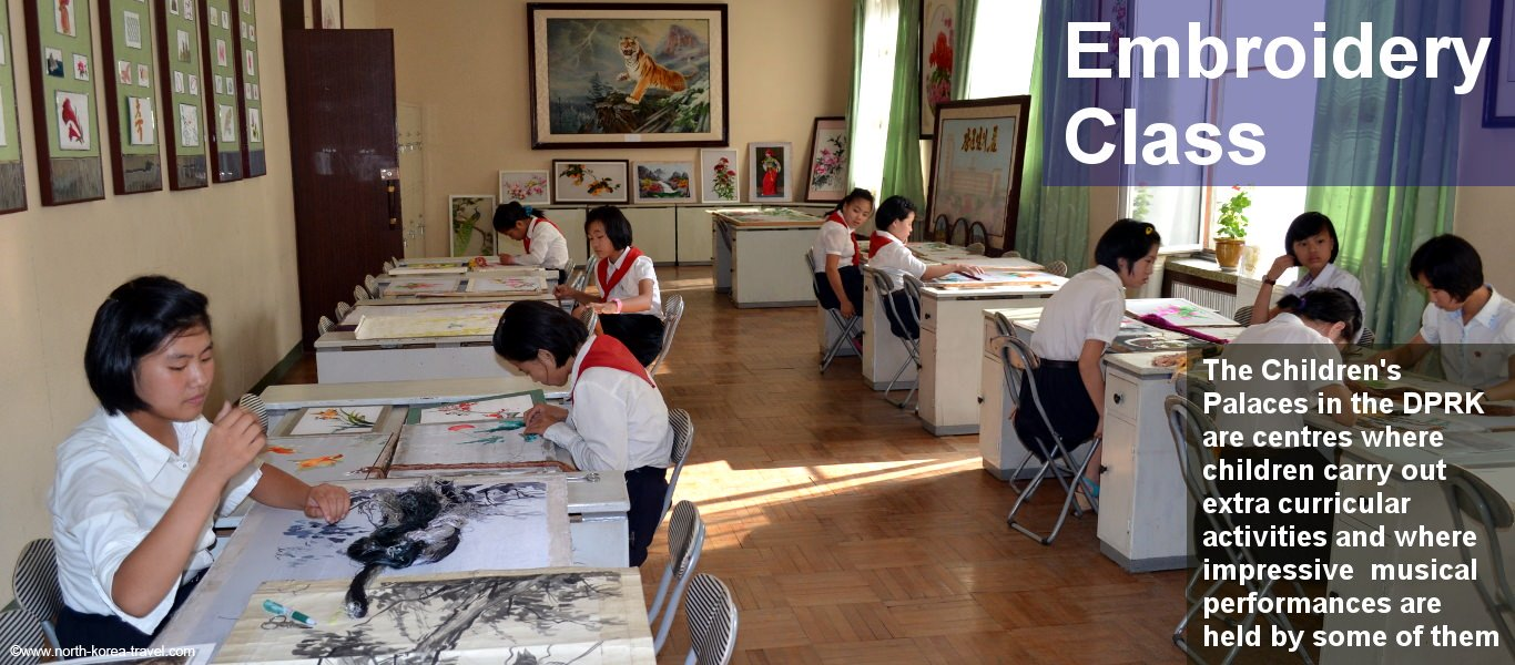 Children in North Korea taking a calligraphy class