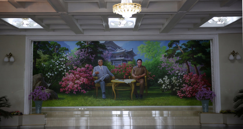 Lobby of the Chongchon Hotel in Hyangsan Town, Mount Myohyang, North Korea (DPRK). Trip arranged by KTG Tours