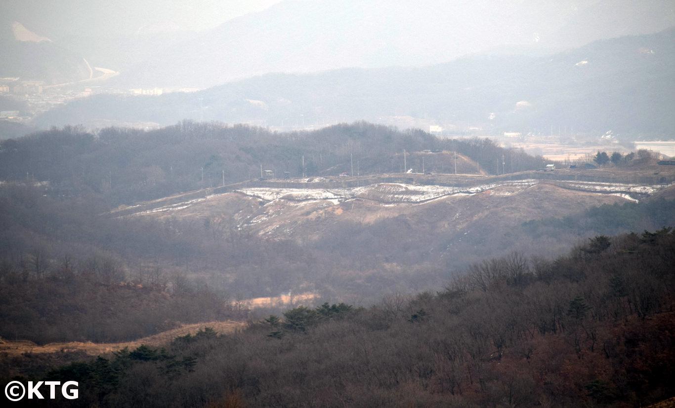 North Korea claims that South Korea built a concrete wall across the DMZ i.e. over 240 kilometres long. South Korea say this is not true. Picture taken by KTG Tours