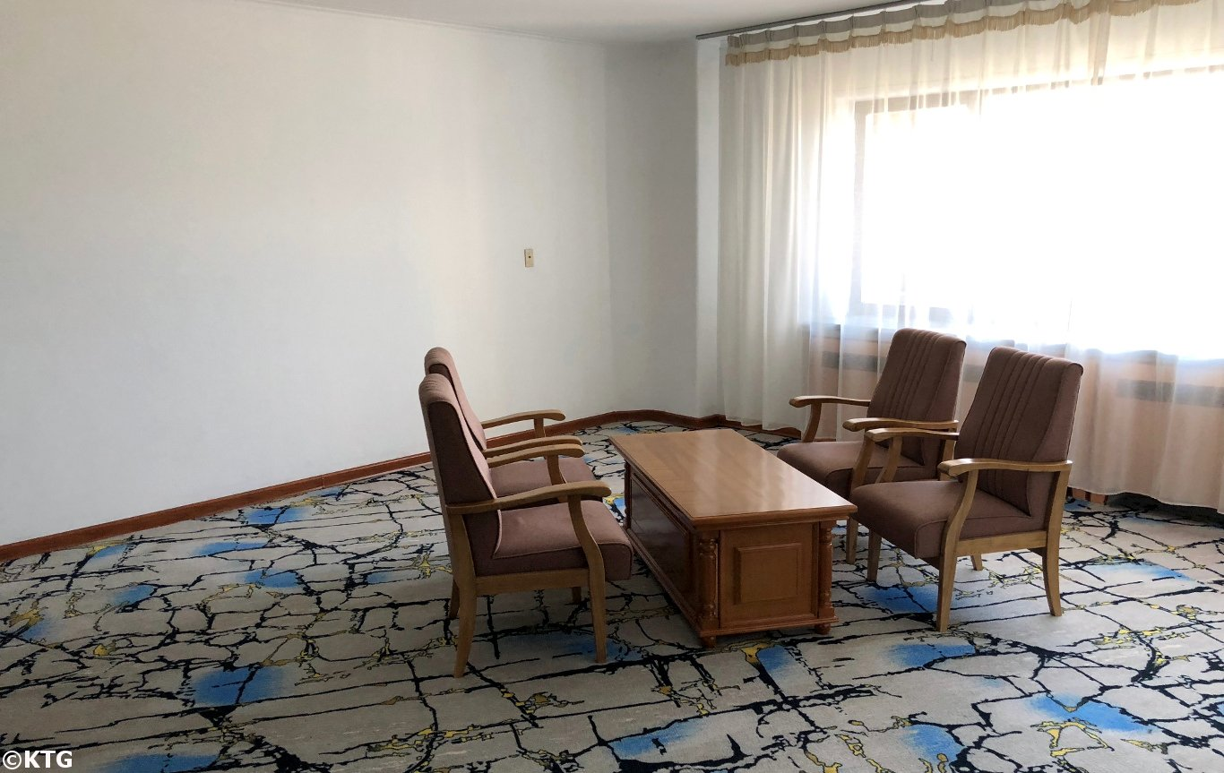 Corridor in the Ryanggang Hotel lobby in Pyongyang, North Korea (DPRK). The hotel was renovated, as were most hotels, in 2018 for the 70th Anniversary of the Foundation of the DPRK. Picture taken by KTG Tours