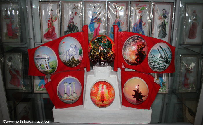 North Korean souvenir painted ostrich eggs