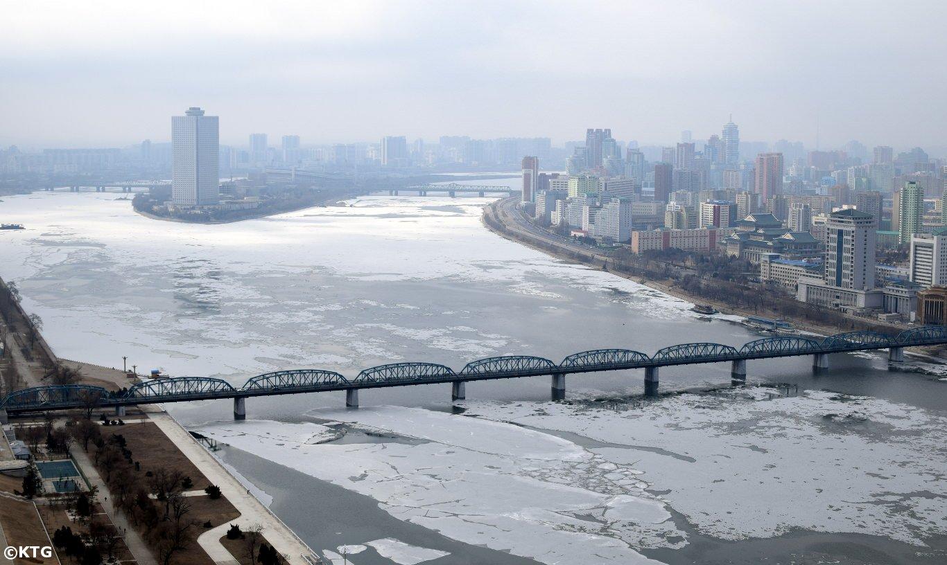 Frozen Taedong River, Pyongyang, North Korea (DPRK)