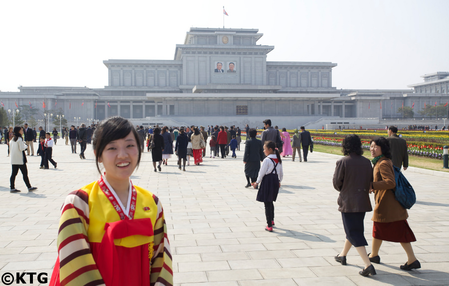 Korean guide at the Kumsusan Palace of the Sun in Pyongyang, North Korea (DPRK)