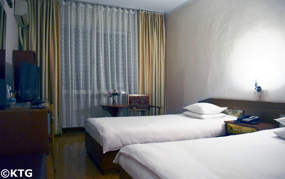 Haebangsan Hotel in Pyongyang. This is a picture of a standard room. The Haebangsan hotel is mainly used by Koreans and Chinese businessmen. It is a budget hotel in North Korea classified as a second class hotel