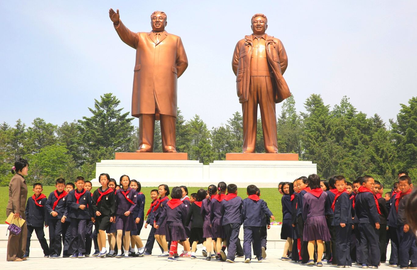 Grand Monuments of Leaders Kim Il Sung and Kim Jong Il in Hamhung, North Korea (DPRK), with KTG Tours