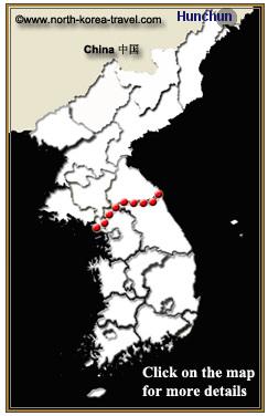 Imagen de un mapa mostrando la ubicación de Hunchun en Yanbian, provincia de Jilin, China