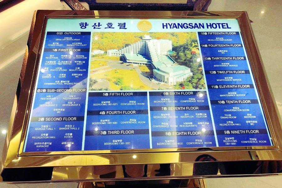 Map of the Hyangsan Hotel in North Korea in Mount Myohyang, DPRK