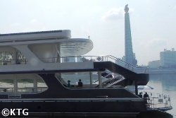 Boat restaurant on the Taedong river in Pyongyang capital of North Korea, DPRK, with KTG Tours