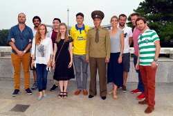 KTG travellers dancing with North Koreans at the DMZ on one of our National Day Tour