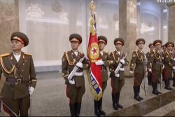 Video of soldiers inside the Kumsusan Memorial Palace of the Sun in Pyongyang, North Korea. This is the most sacred place in the DPRK