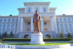 Statue of Chairman Kim Jong Il at Kim Il Sung University in Pyongyang North Korea