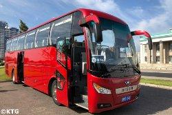 Autobús en Pyongyang para un viaje organizado por KTG Tours en Corea del Norte