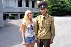 KTG traveller with a KPA soldier at the DMZ in North Korea, DPRK