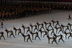 Taekwondo show at the Mass Games in August in Pyongyang capital city of North Korea. Tour arranged by KTG Tours