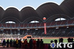 Football match at the Rungrado May Day Stadium in Pyongyang capital of North Korea (DPRK). Picture taken by KTG Tours