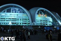 May Day stadium seen at night, Pyongyang, North Korea
