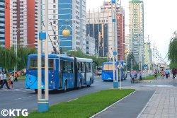 Mirae street en verano, Pyongyang, Corea del Norte, RPDC con KTG Tours