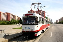 Tram in Pyongyang capital city of North Korea (the DPRK). Trip arranged by KTG Tours