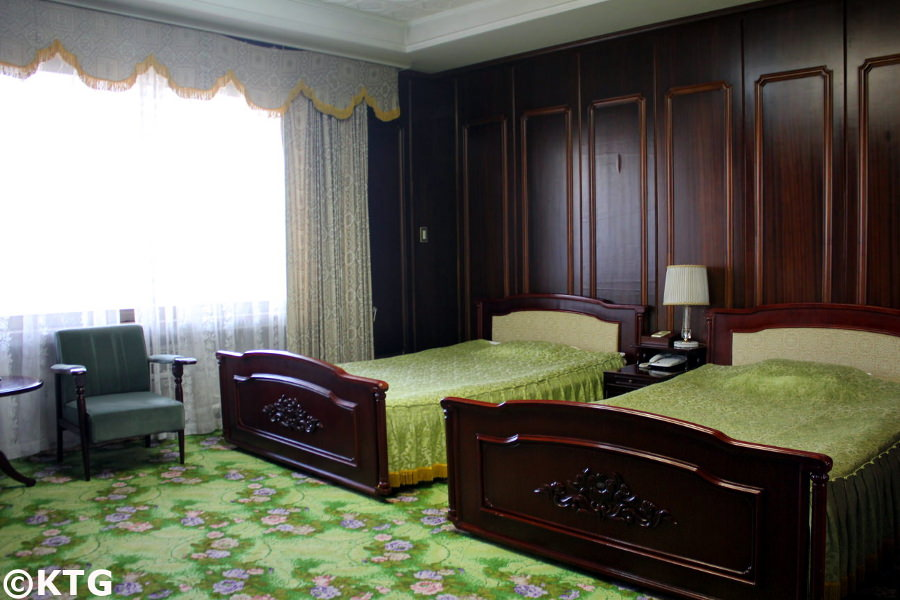 Room at the Nampo Ryonggang Hot Spa Hotel near Nampo city in North Korea, DPRK. You can see the the decoration is very retro. Picture taken by KTG Tours