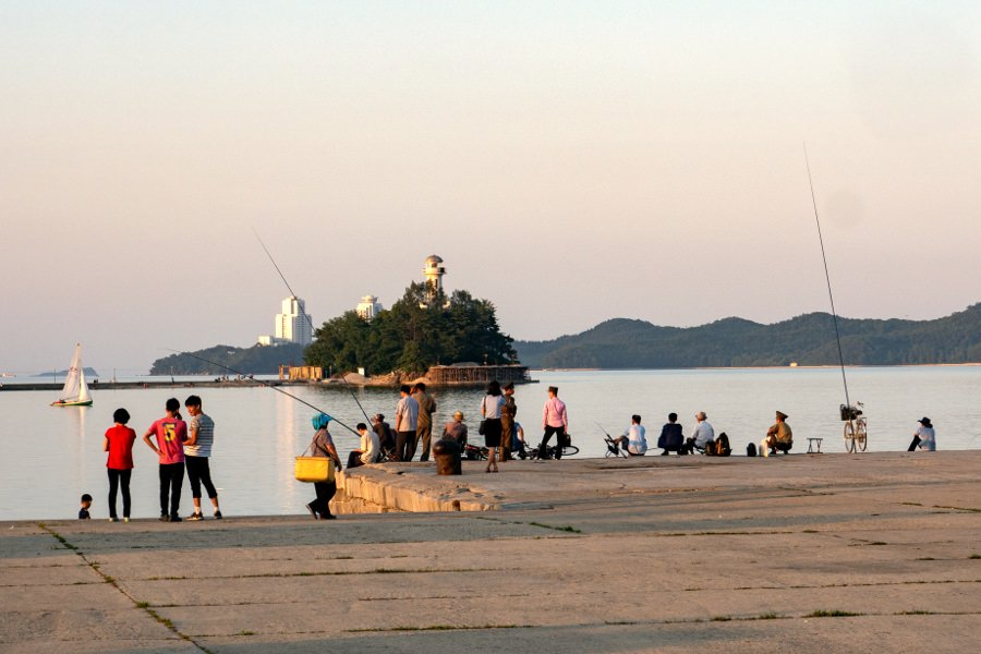 Locals fishing in Wonsan, North Korea (DPRK). You can see Jangdok islet in the background. Picture taken by KTG