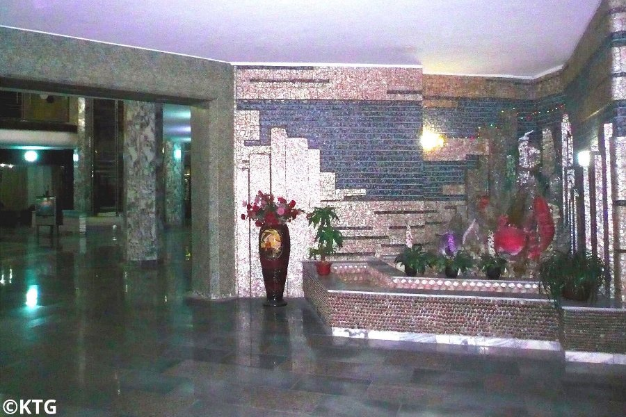 Decoration and style of the Tongmyong Hotel in North Korea, DPRK. Visit Wonsan city and stay at the Dongmyong Hotel with KTG Tours