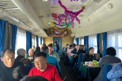 Train from Pyongyang in North Korea to China. This is the canteen carriage. Trip arranged by KTG Tours