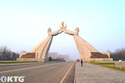 KTG traveller at the arch of reunification in Pyongyang capital of North Korea, DPRK