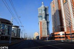 Galaxy Tower en Pyongyang. La torre Unha se encuentra en la calle de los científicos de Mirae