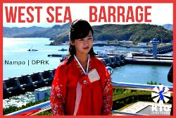 North Korean guide at the West Sea Barrage in Nampo, North Korea. Trip arranged by KTG Tours